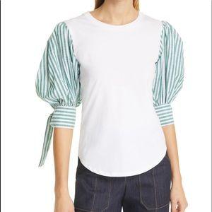 Cinq a Sept Carlie Tie Sleeve Cotton Top